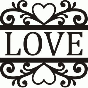 Silhouette Design Store - View Design #74161: curly heart split damask
