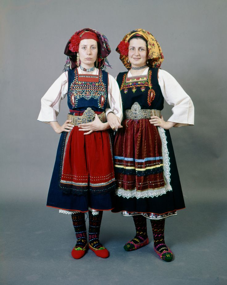 LA COIFFURE <3  Two variation of a woman's costume from Metaxades in the Evros region of Thrace. Both Karoti and Metaxades sleeveless dresses have openings for breast feeding. - early 20th