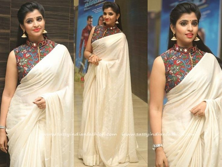 Anchor Shyamala in White Saree and Kalamkari Blouse