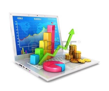 Estadísticas 3d en la computadora portátil, fondo blanco, imagen 3d