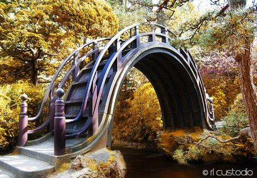 A decorative bridge in the Japanese tea garden at Golden Gate Park in San Francisco, California