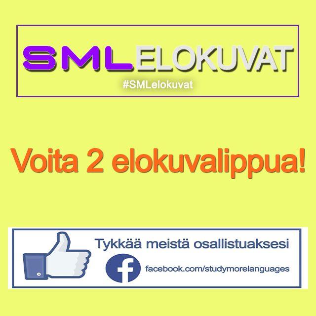 Ohjeet: 1) tykkää meistä Facebookissa https://www.facebook.com/studymorelanguages 2) ja kommentoi SML elokuvat kilpailukuvan alle Facebookissa vastauksesi.    #SMLMatka #SMLelokuva #elokuva #voita #suomi #finland
