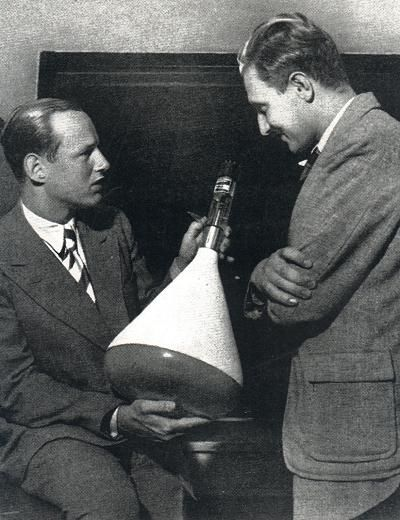 ✠ Manfred von Ardenne (left). He developed a three-system electronic tube for wireless telegraphy (at age fifteen). A few years later, he invented the scanning electron microscope. He then developed a (transmission/reception) CRT television system, publicly demonstrating it in 1931. By 1935, Berlin had his electronically scanned TV service and by 1936 they could broadcast the Olympics on live TV. During the war, he turned to nuclear research. Post-war, he had to work for the Soviets.
