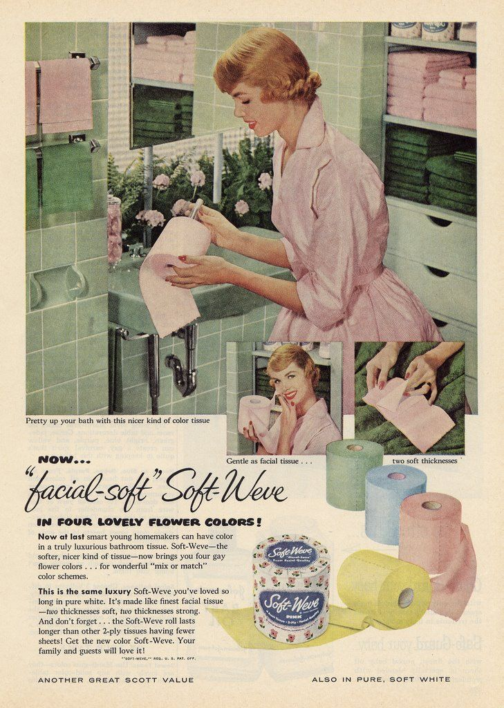 toilet tissue to match your bathroom...I miss the blue.......and NO the color did not rub off on you.....