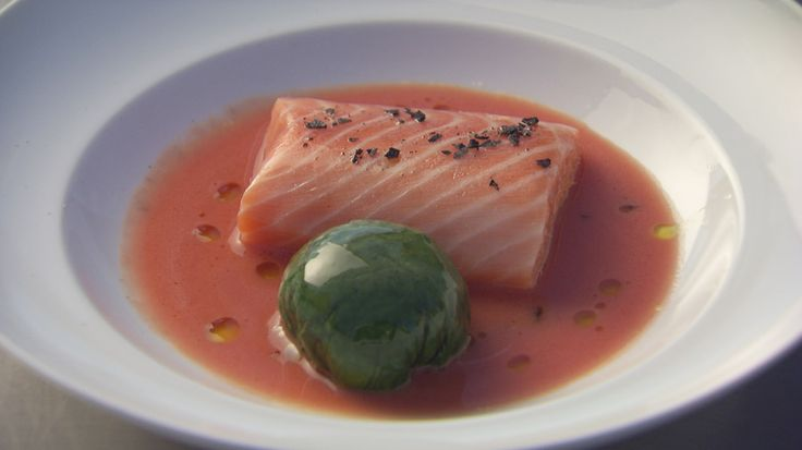 Confit Salmon with Spinach and Tomato