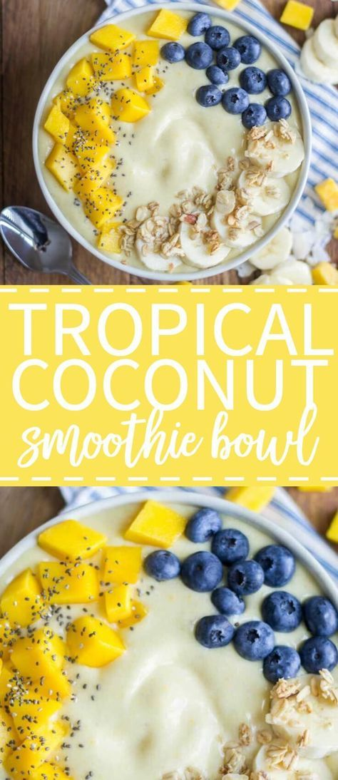 This tropical coconut smoothie bowl is an energizing breakfast recipe made with fresh fruit and natural ingredients. The base is filled with tropical fruits like mango and pineapple and it's thickened with coconut milk. Top this smoothie bowl with your favorite healthy ingredients like extra fresh fruit, chia seeds and granola!