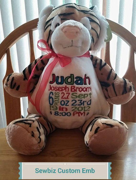 Personalized Tiger Stuffed Animal Custom by SewbizEmbroiderytoo, $34.00