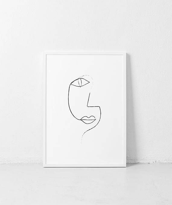 Line Drawing 1 ART PRINT   Minimalist single line Poster Black and white face   Abstract line Minimalist Art   Scandinavian art print – Julia