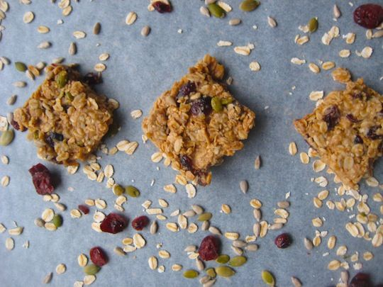 the wholefood mama: homemade muesli bars  I don't use creamed coconut and I use honey, not rice syrup.  I use cranberries for the fruit. You can play with the quantities and types of nuts, and use other ones as well (pecans are good).