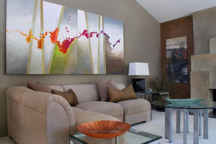 Abstract artwork opens up this modern room Modern Interiors for Art Lovers Interior Pinterest