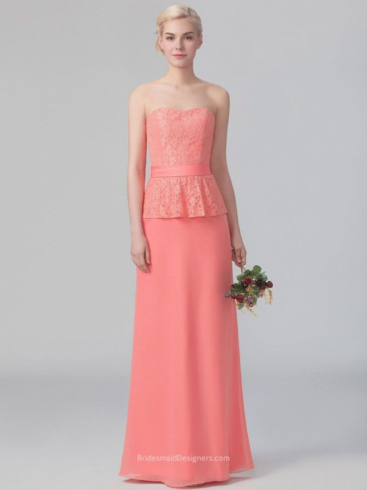 Your bridesmaids will look absolutely stunning in this coral chiffon A-line dress! Strapless floor length dress features intricate strapless lace bodice with peplum detail. Chiffon skirt provides a comfortable and figure flattering silhouette. Zip back with dainty bow.
