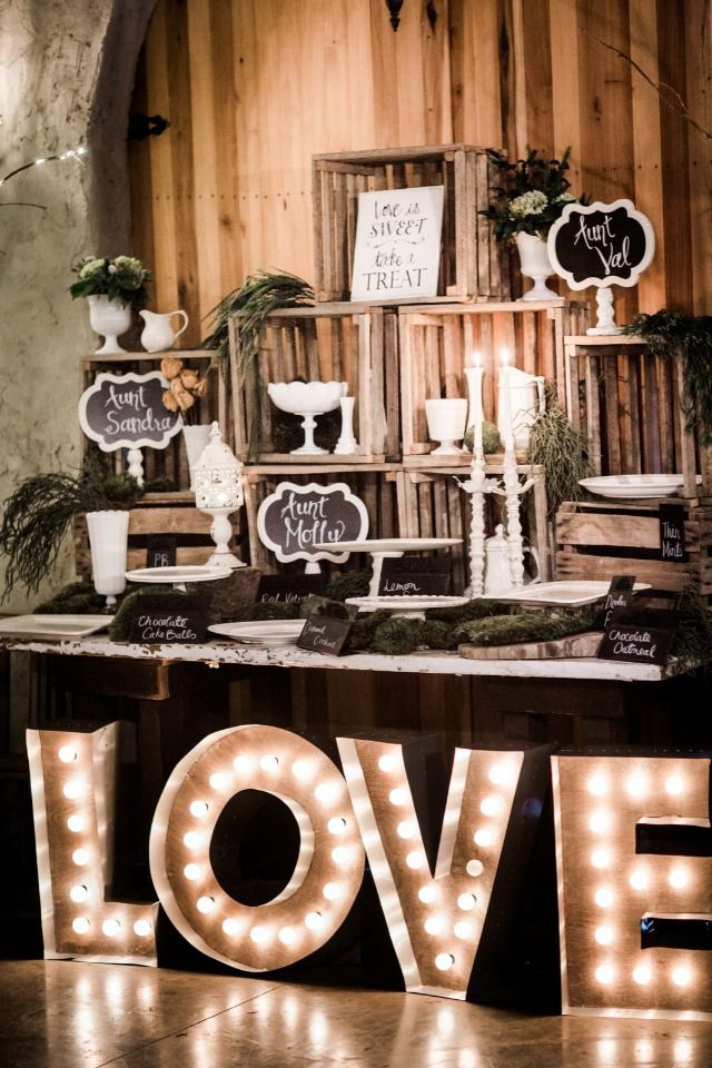 Cute dessert table with Love marquee