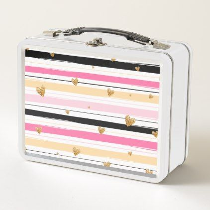 Modern Love Golden & Pink Girly Chic Stripes Metal Lunch Box - romantic gifts ideas love beautiful
