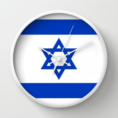 The National flag of the State of Israel Wall Clock