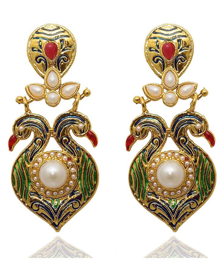 Best for festive & wedding wear, Kriaa Kundan Green And Blue Meenakari Pearl Peacock Design Gold Plated Dangle Earrings @ Rs. 395/- Buy now at http://www.jewelmaze.in/product/AAA0283/Earrings/Kriaa-Kundan-Green-And-Blue-Meenakari-Pearl-Peacock-Design-G/?pd=EGI#.VtbDaH197IV