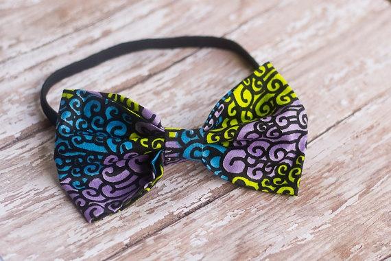 Ankara African wax fabric bow Headband  Ankara tribal by NoahsCrew, $18.00
