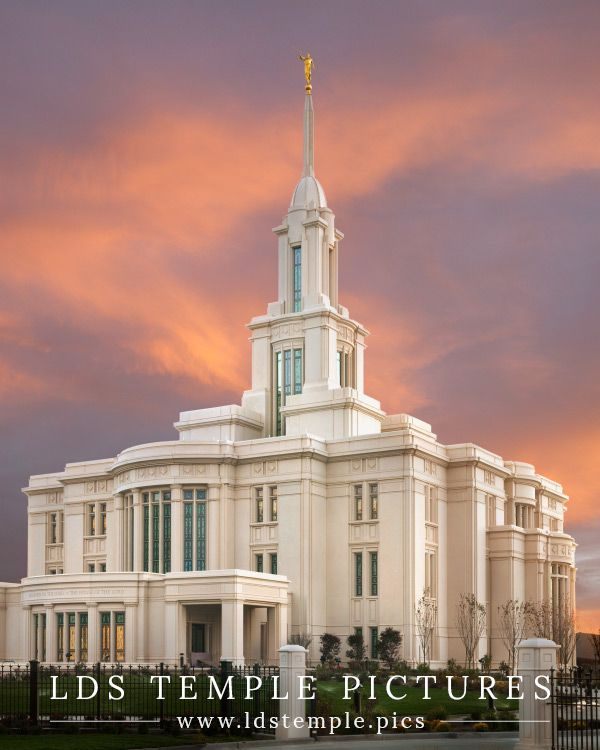 Payson Temple Sunset And Flowers Southwest