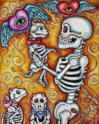 Lisa Luree art Original Day of the Dead PICKING PUPPY painting READY TO HANG