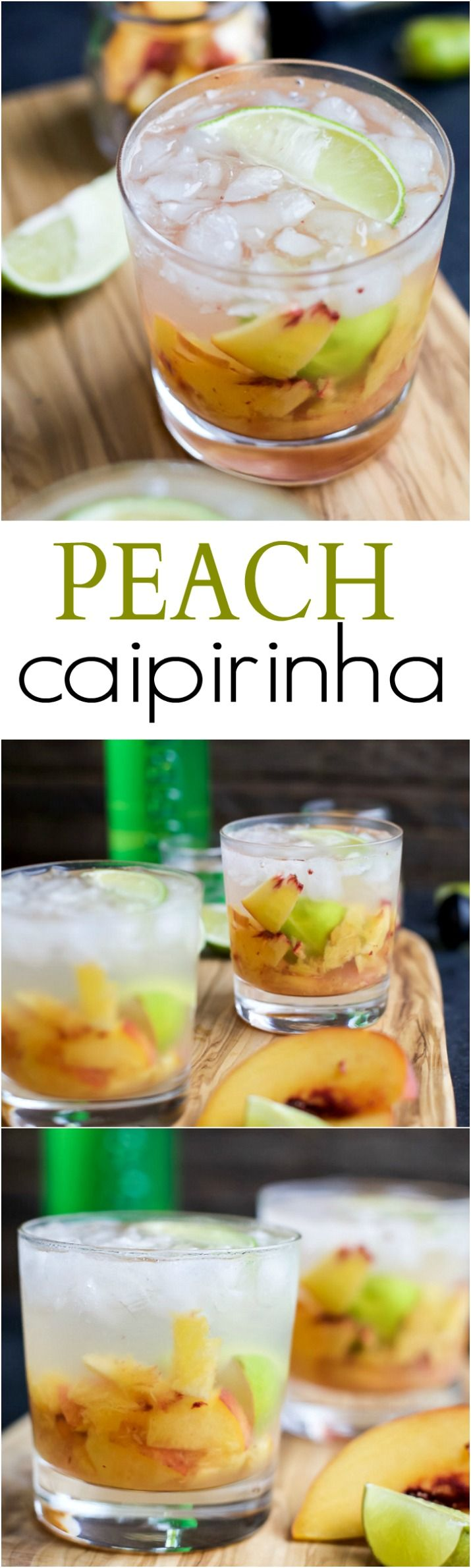 Brazilians know how to make a cocktail! Perfectly refreshing and easy to make - this Peach Caipirinha is hands my drink of choice! | joyfulhealthyeats.com