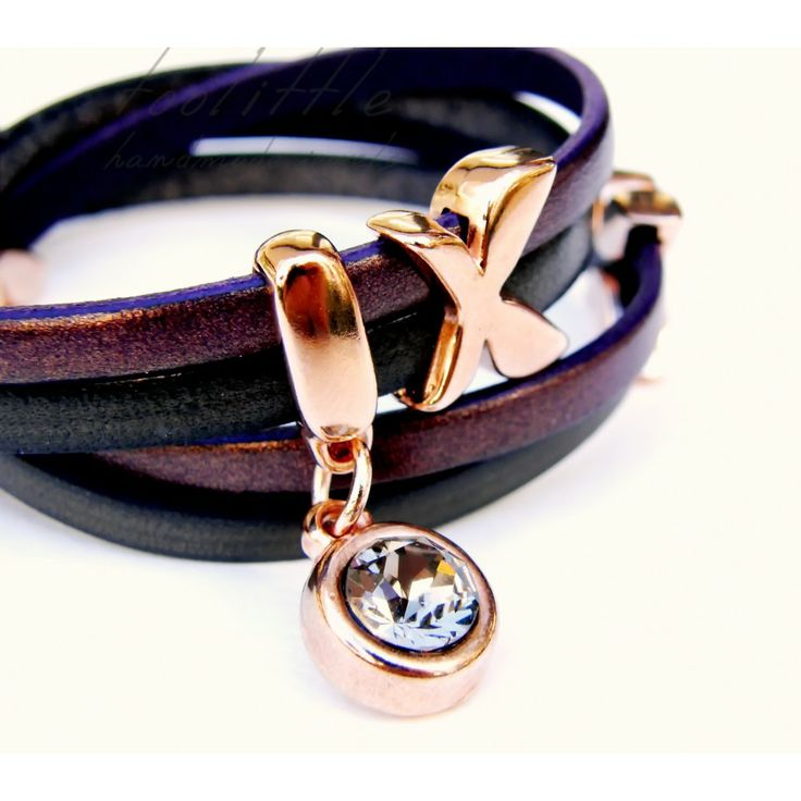 gorgeous!!! #leatherbracelet by #toolittle - dark grey and aubergine leather with a soft shine,  butterflies in rose gold & Swarovski Stone in greige color