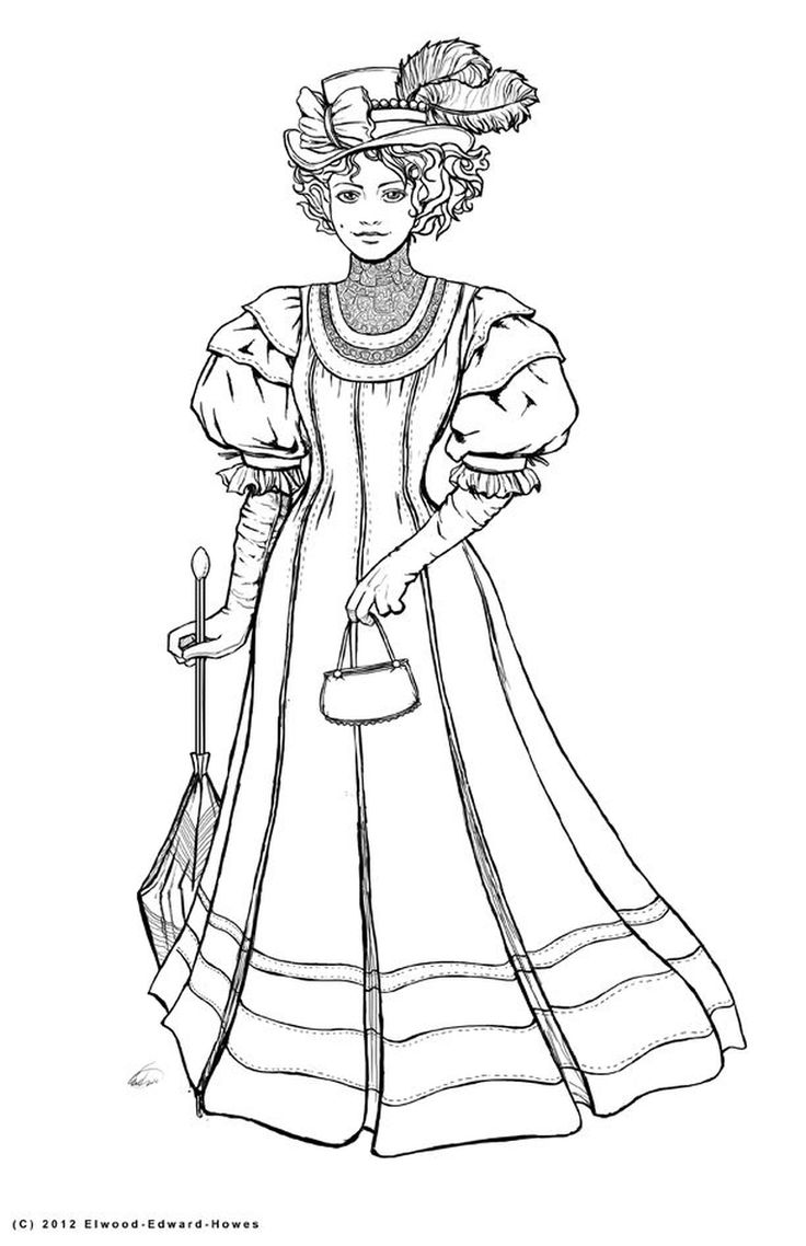 Victoria coloring dresses victorian clothes colouring pages page 2 - Victorian Woman Realistic Coloring Pages Colouring