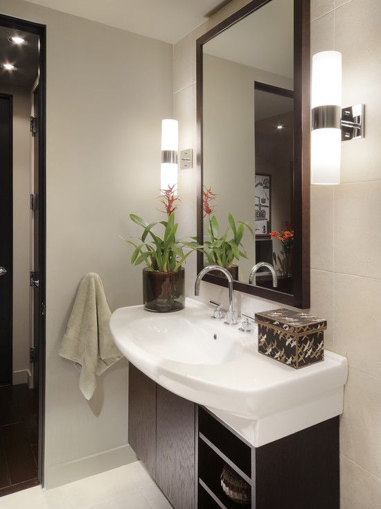 Contemporary powder room small vanity mirror design for Bathroom room accessories