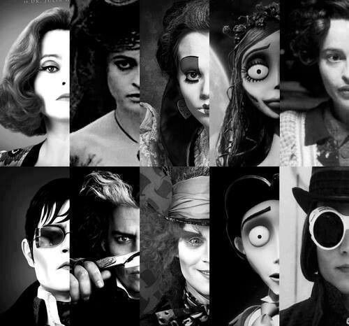 The many side by side Burton castings of Helena Bonham Carter and Johnny Depp.