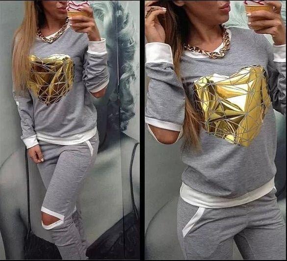 2015 Hot Gold Heart Hollow Out Lady Tracksuit Women Hoodies Sweatshirt +Pant Jogging Sports Costumes Track suit 2 Piece Set 6c557ce9-c86a-4c44-8ced-25ac4adb5b9c Hoodies & Sweatshirts