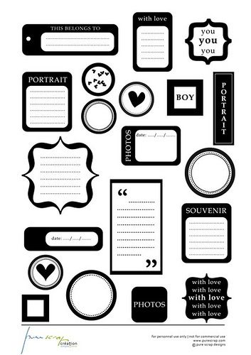 Printable black and white tags for scrapbooking by cassiopee13, via Flickr