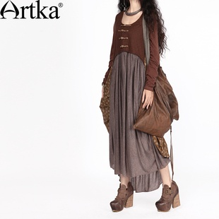 #Swanmarks Artka Desert Series False Two-piece Handmade Chinese Button Embroidery Dress