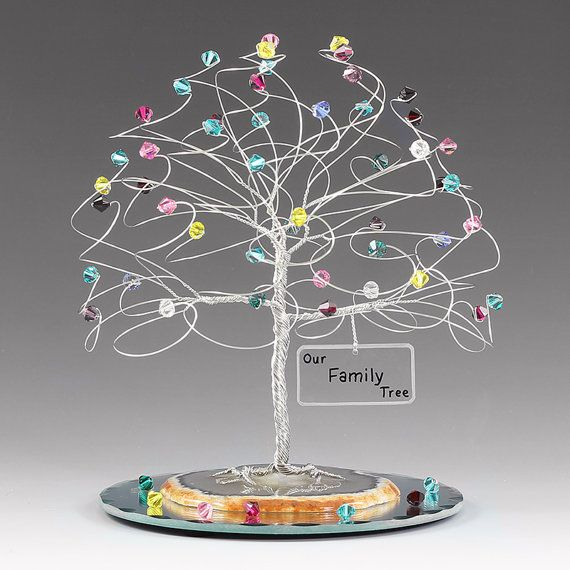Family Tree Personalized Birthstone Sculpture 6 x 6 by byapryl