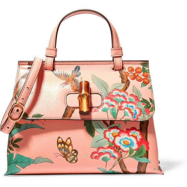 Gucci Bamboo Daily printed textured-leather shoulder bag (£1,440) ❤ liked on Polyvore featuring bags, handbags, shoulder bags, peach, butterfly purse, cellphone purse, shoulder handbags, red shoulder bag and gucci handbags