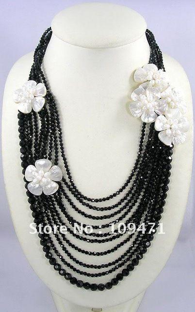 df8f2642e6b4 Madre de Concha de Perla Cristal Flor Collar Acodado
