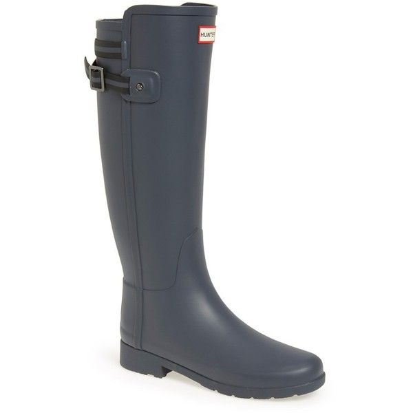 Women's Hunter 'Original Refined' Rain Boot (870 CNY) ❤ liked on Polyvore featuring shoes, boots, dark slate, wellington boots, rubber boots, rain boots and wellies boots