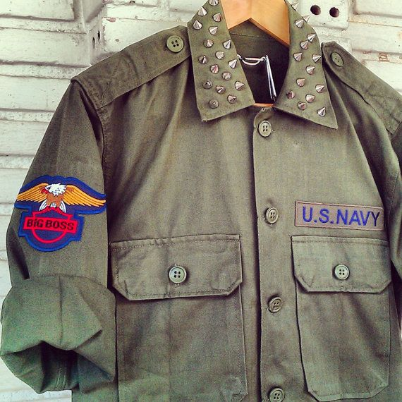 Vintage Reworked Studded Green Army Jacket / by KodChaPhorn