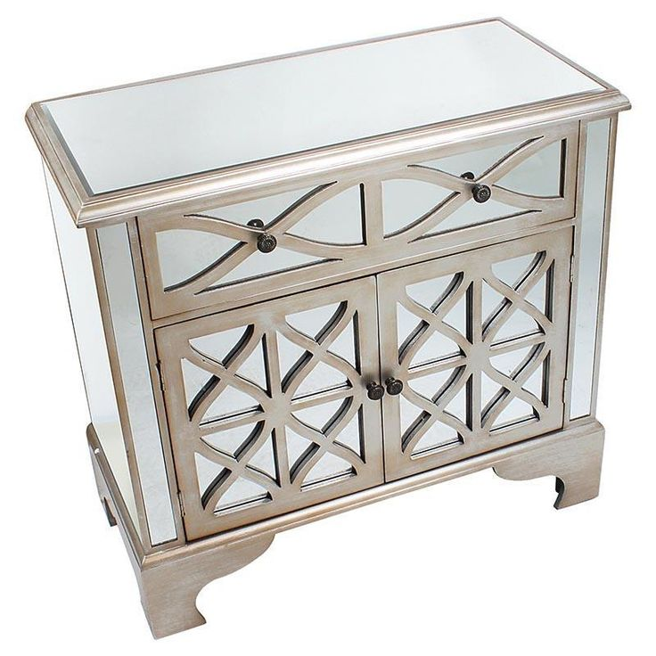 Delicate #mirrored wooden #cabinet in #champagne color. www.inart.com