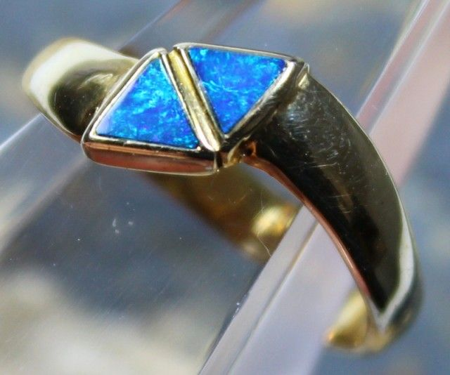 7 RING SIZE OPAL CRYSTAL INLAY STERLING SILVER GOLD PLATED