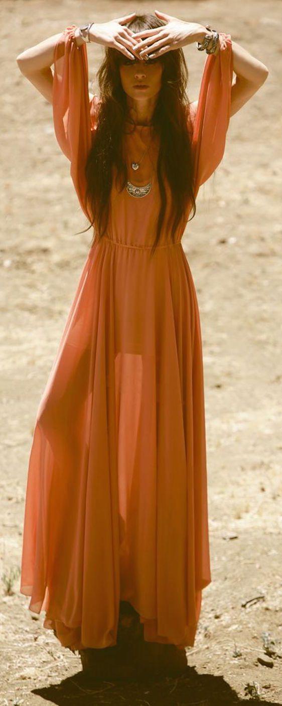 Boho look | Vaporous orange maxi dress with boho accessories #Orange #Inspiration #Beautyinthebag