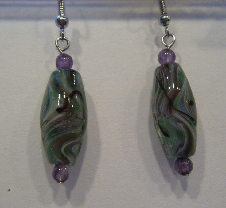 greens, lavender glass