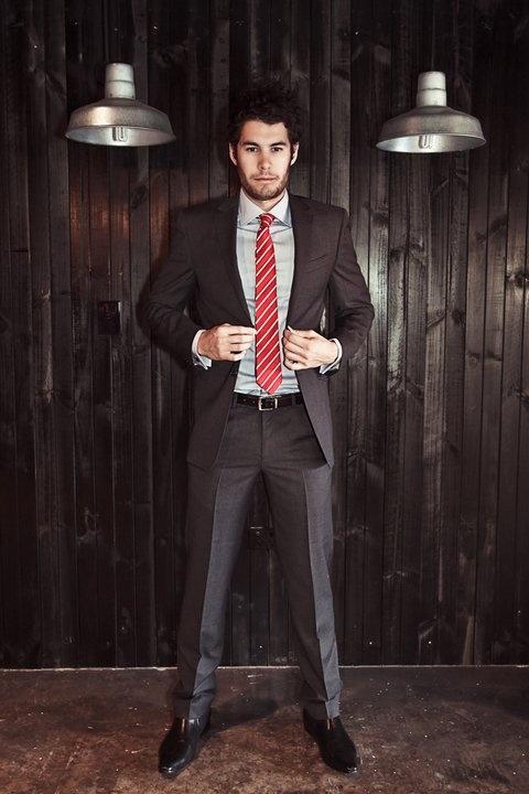 100% wool Charcoal Slim Suit- $599.99
