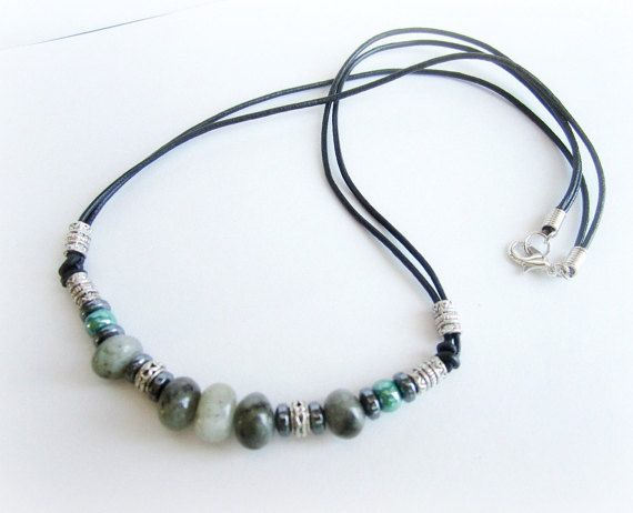 Mens surfer necklace labradorite hematite by Bravemenjewelry