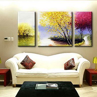 pintura a óleo decoração paisagem abstrata mão telas pintadas com esticada enquadrado - conjunto de 3 de 3798556 2016 por R$334,59