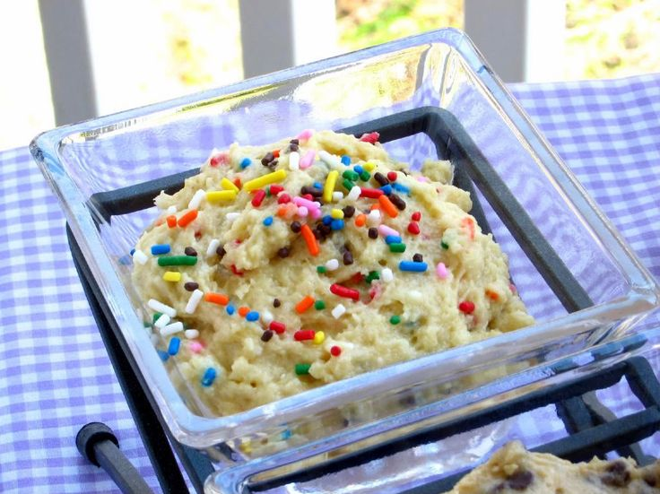 No egg Cookie dough   1 1/2 cups all-purpose flour  2/3 cup yellow cake mix  1/4 teaspoon salt  1/2 cup unsalted butter, room temperature  1/2 cup granulated white sugar  1 teaspoon pure vanilla extract  2 tablespoons sprinkles  4-8 tablespoons water