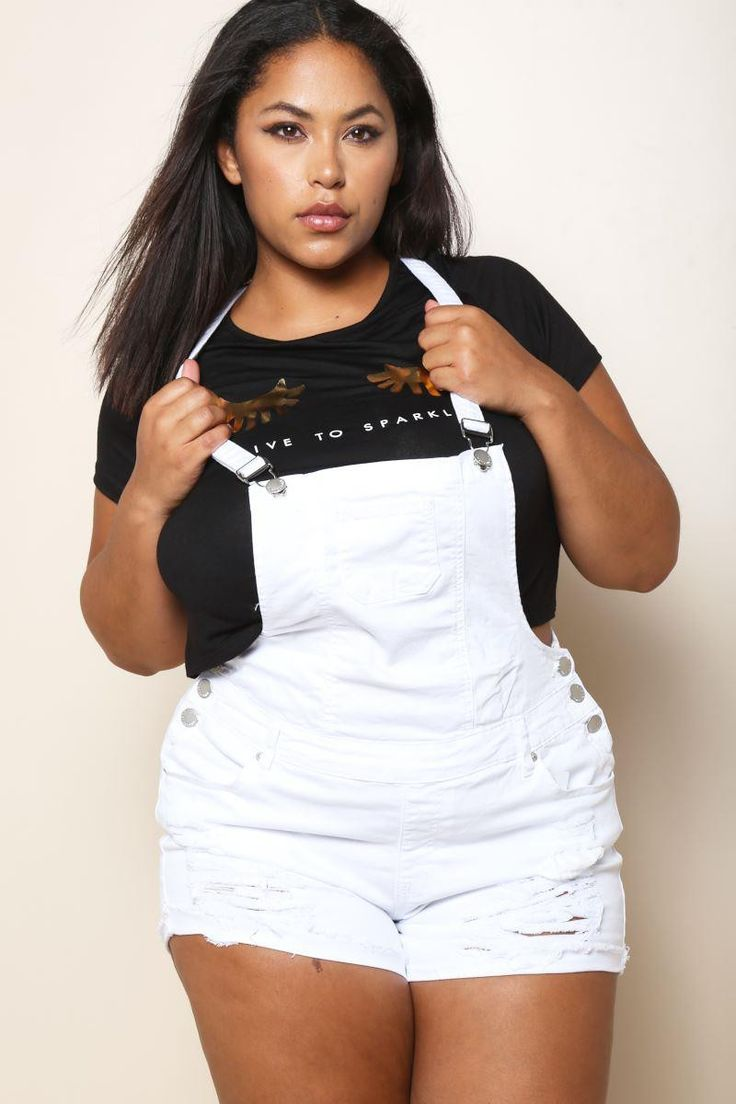 Plus Size Distressed Shorts Overalls White