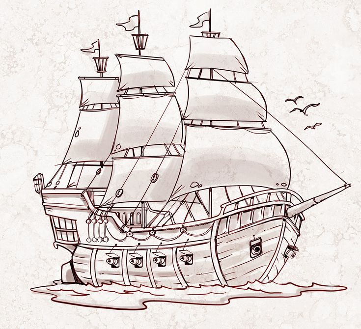 Pirate Ship - a sketch for a How to Draw book.