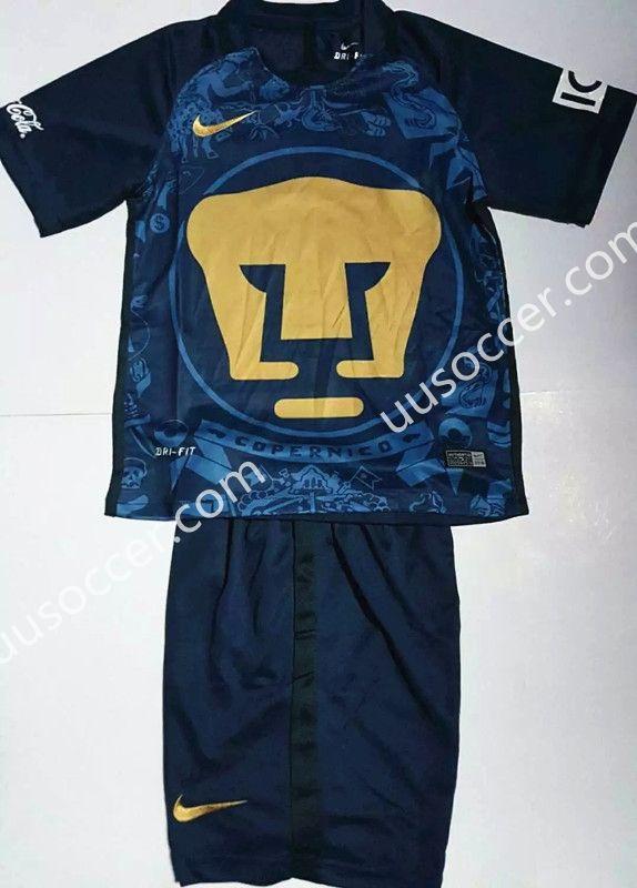 2016-17 Pumas UNAM Away Blue Kids/Youth Soccer Uniform