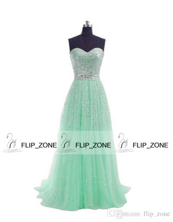cheap stock prom dress strapless sweetheart crystal tulle long