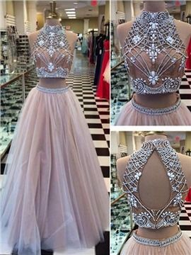 Ericdress A-Line Two Pieces Jewel Neck Beading Backless Long Prom Dress