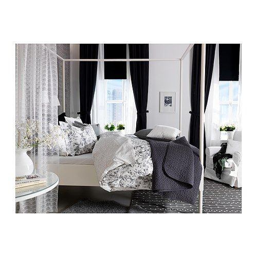 alvine kvist quilt cover and 2 pillowcases white grey 150x200 50x80 cm yarns ikea bedroom and. Black Bedroom Furniture Sets. Home Design Ideas