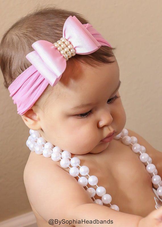Luz diadema lazo grande rosa cinta bebé rosa arco por BySophiaBaby